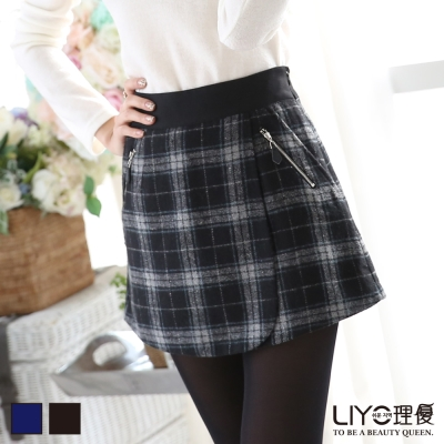 LIYO理優褲裙-格紋拉鍊褲裙-深藍-黑