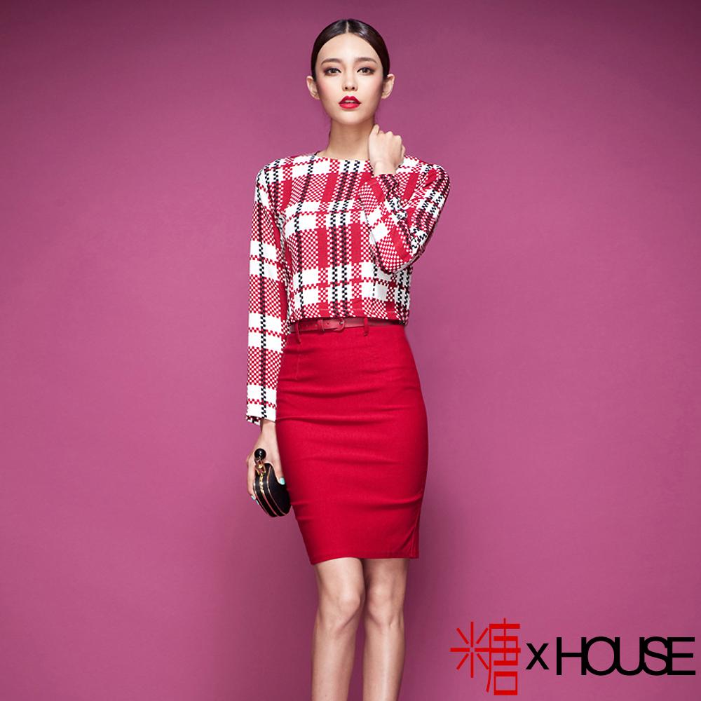 【糖 x House】優雅格紋上衣包臀窄裙套裝  (紅色)