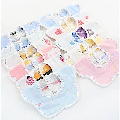 JoyNa六層紗布口水巾嬰幼兒圍兜-5入組