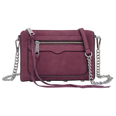 REBECCA MINKOFF AVERY 麂皮鍊帶斜背包-莓紫色