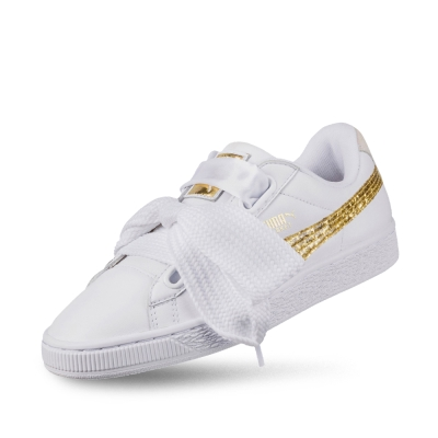 PUMA-BasketHeartGlitterWns女性復古籃球運動鞋-白色