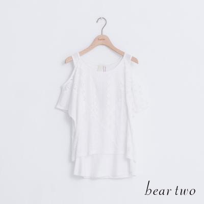 beartwo-拼接假兩件式裸肩造型上衣-二色