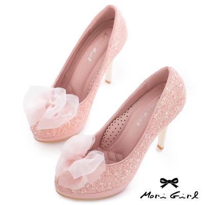 Mori girl甜美花嫁-紗緞蝴蝶結亮片高跟婚鞋 粉