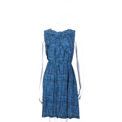 Marc Jacobs 藍色領結設計方格紋無袖洋裝