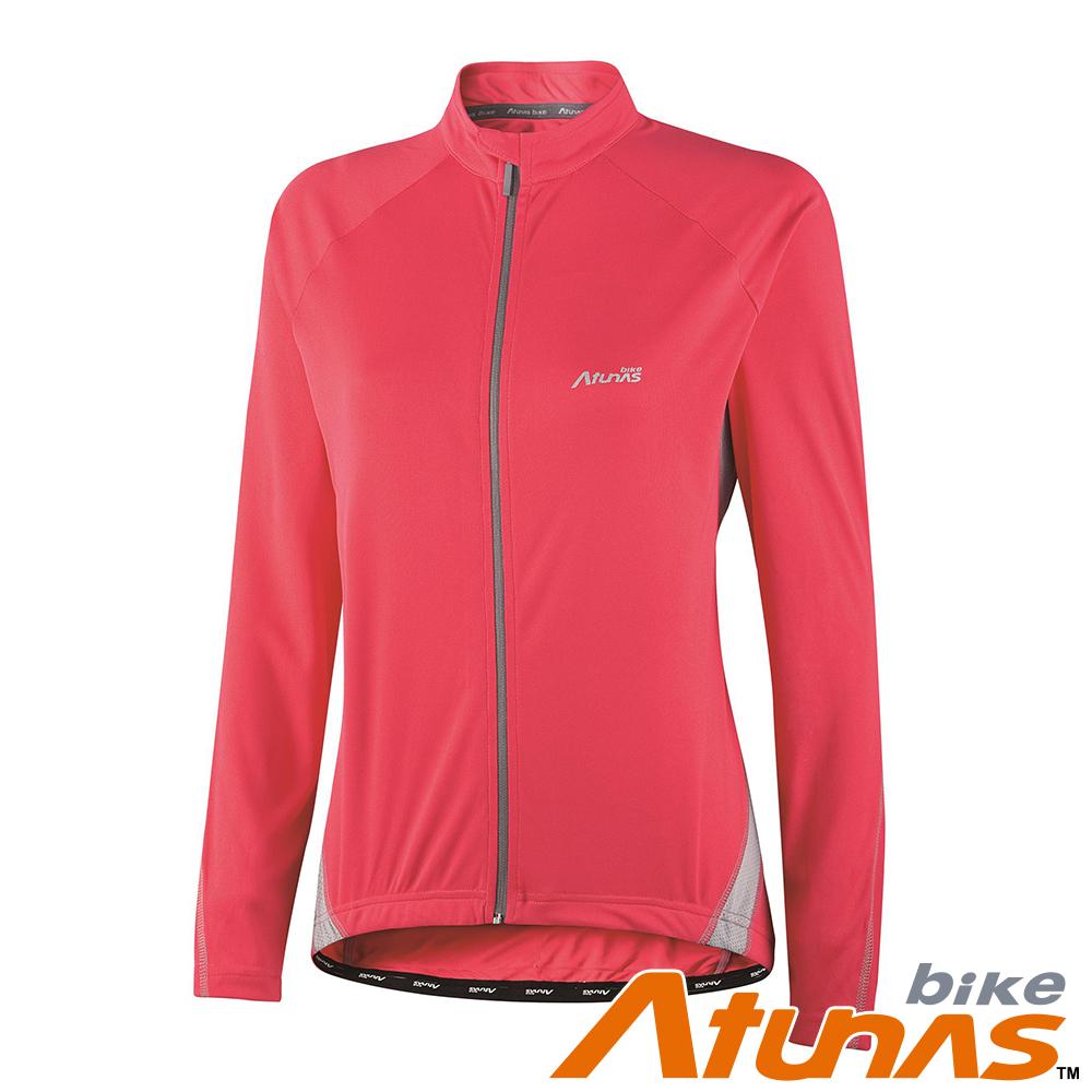 【ATUNAS 歐都納】女款吸濕排汗長袖車衣 B11037W 紅/淺灰
