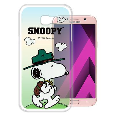 史努比 正版授權 Samsung Galaxy A7(2017) 漸層彩繪手機殼...