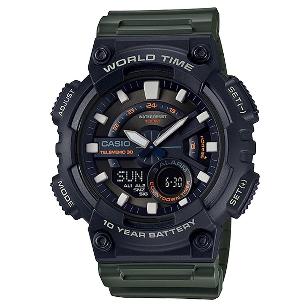 CASIO 悍將世界城市玩家雙顯運動錶(AEQ-110W-3A)墨綠X黑/46.6mm