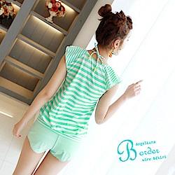 【AngelLuna日本泳裝】簡約條紋四件式比基尼泳衣-V領綠色
