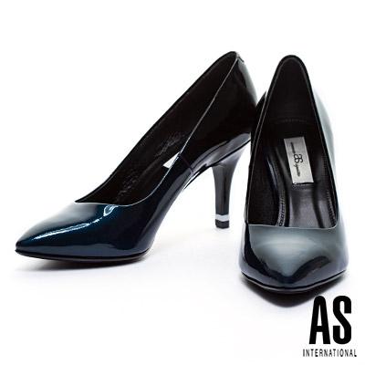 高跟鞋-AS-珠光漸層牛皮美型尖頭高跟鞋-藍