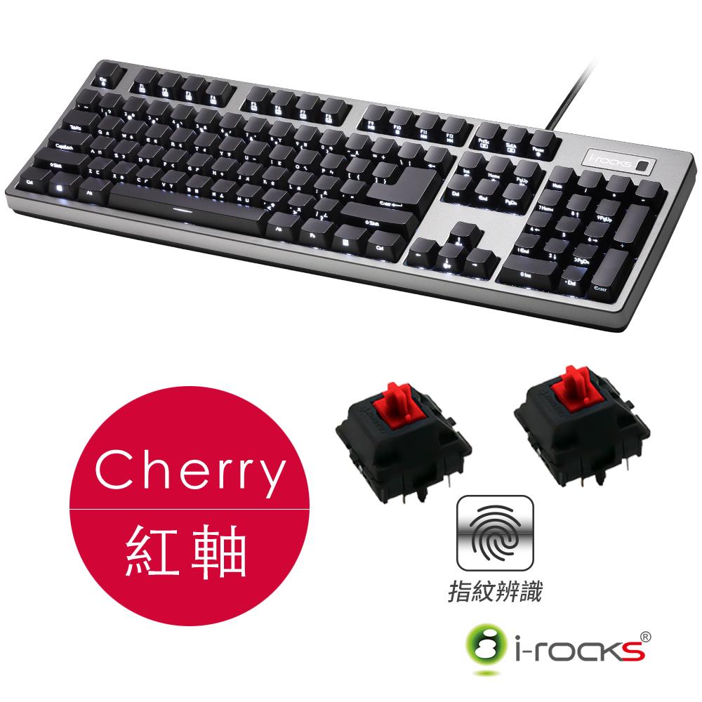 i-Rocks IRK68MSF指紋辨識背光機械鍵盤-Cherry紅軸