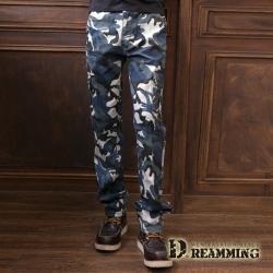 Dreamming 韓系工裝迷彩彈力修身休閒工作長褲-藍灰
