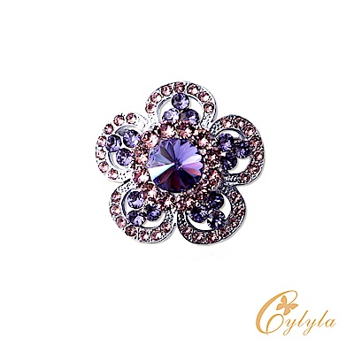 Cylyla思琳娜 施華洛世奇元素山茶花紫水晶耀眼胸針別針B-10824G