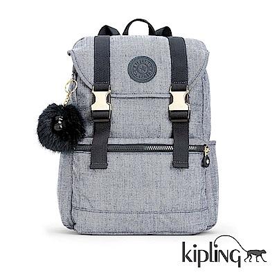 Kipling 後背包 淺麻藍灰-中
