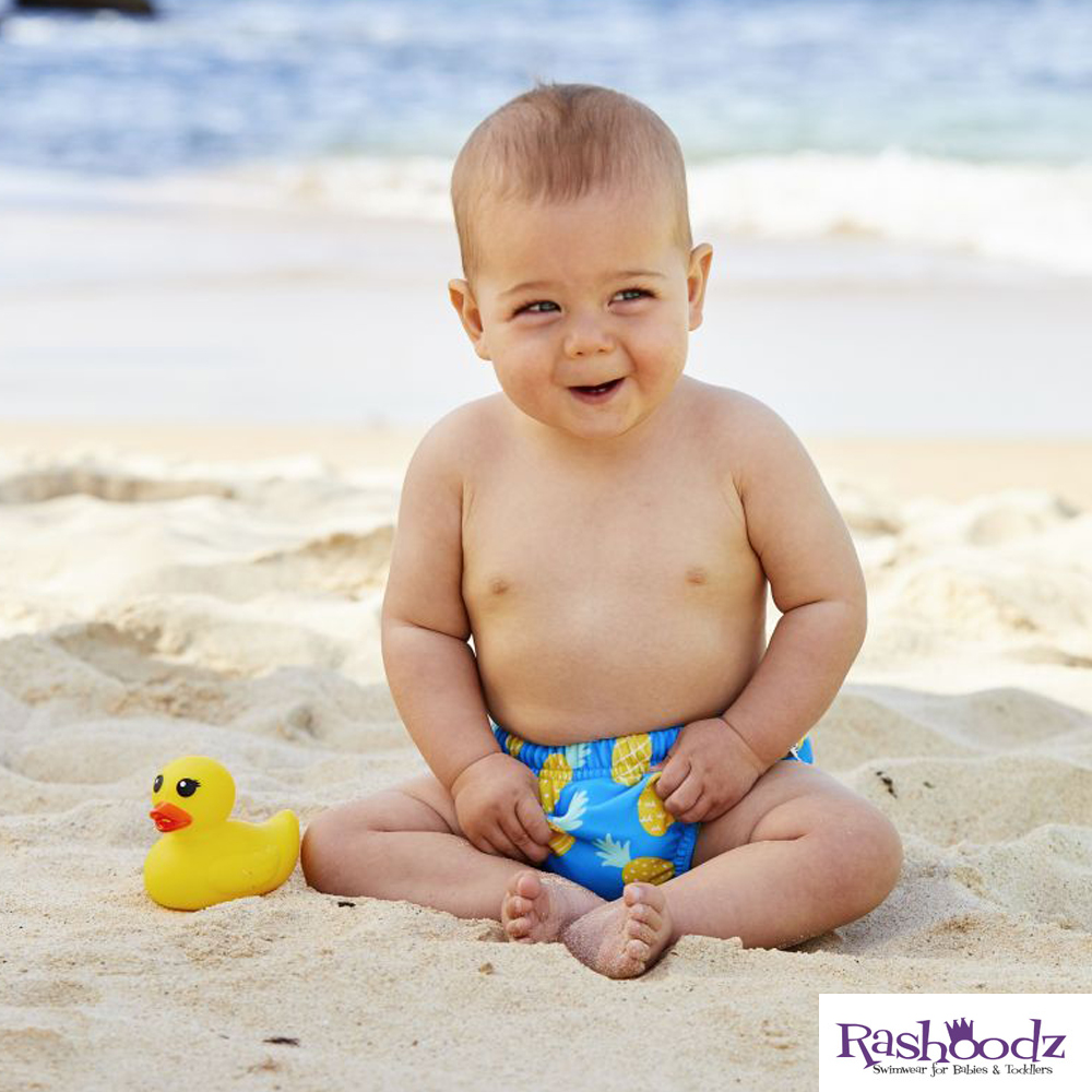 澳洲 RASHOODZ 兒童抗UV防曬游泳尿布褲 (鳳梨派對)