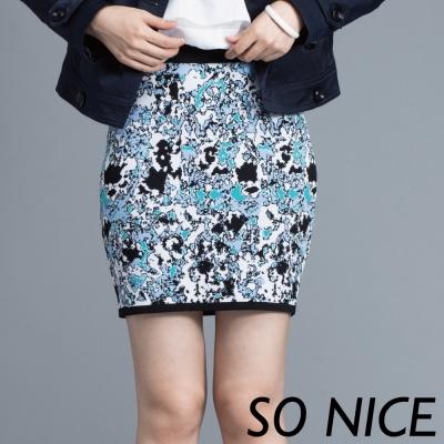 SO-NICE配色煥彩針織窄裙