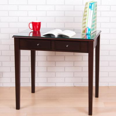 維納斯實木腳強化玻璃雙抽書桌(寬80公分)(2色)