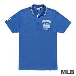 MLB-洛杉磯道奇隊LOGO印繡花POLO衫-藍 (男)