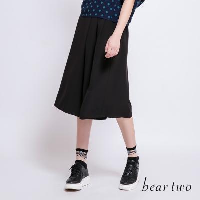 beartwo-飄逸感純色打摺造型寬褲-三色-動態show