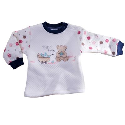 魔法Baby~肩開居家保暖圓領上衣(白底藍、白底咖)~k25071