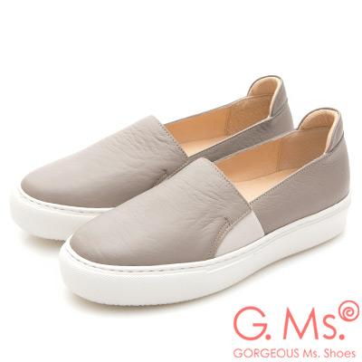 G.Ms. MIT系列-百搭Q彈牛皮素面顯瘦厚底懶人鞋-灰色