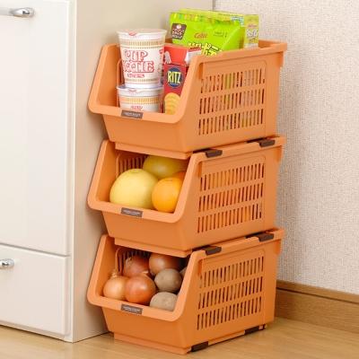 INOMATA可疊放附滑輪蔬果收納籃 橘色 1入裝