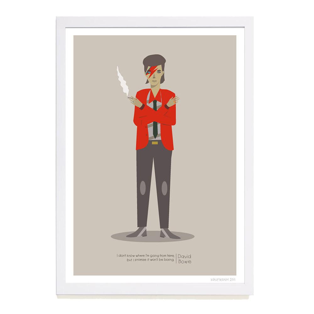【摩達客】西班牙插畫家Judy Kaufmann海報掛畫-大衛鮑伊 (附簽名)(含木框)
