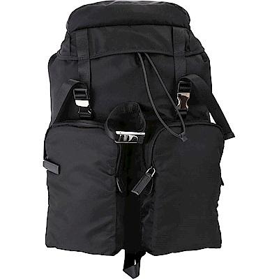 PRADA 雙釦設計尼龍後背包(附名牌吊飾/黑色)