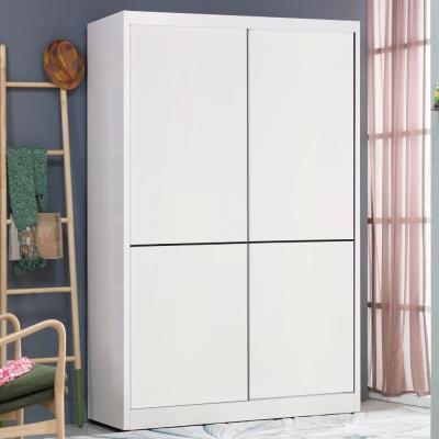 品家居 蘇姍娜4尺白色推門衣櫃