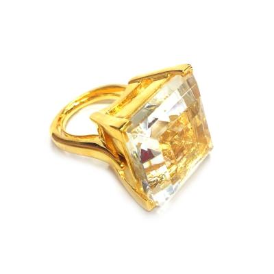Kenneth Jay Lane 好萊塢巨星最愛 公主切割 透明白水晶戒指鑲K金 附原廠盒