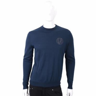 VERSACE 刺繡圖騰細節深藍針織羊毛衫
