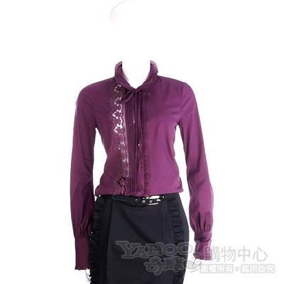 SCERVINO 紫色蕾絲綴飾長袖襯衫