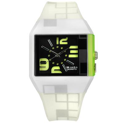 JAGA 捷卡 方型大數字刻度冷光照明運動橡膠手錶-黑黃綠x米白/43mm