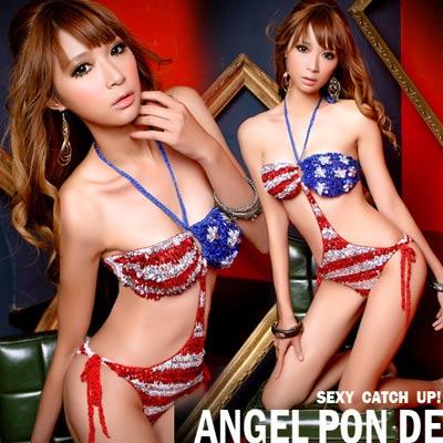 天使波堤-美國甜心亮片平口手勾針織連身比基尼泳裝