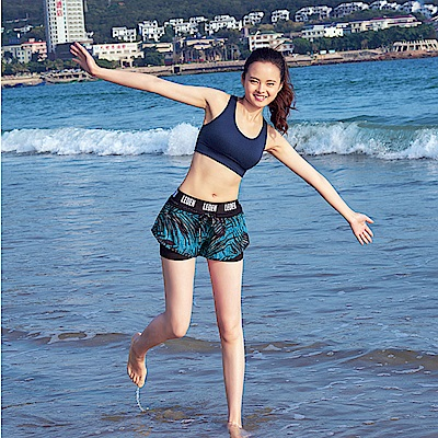 Biki比基尼妮泳衣   黑椰速乾雙層短褲泳褲(單褲)
