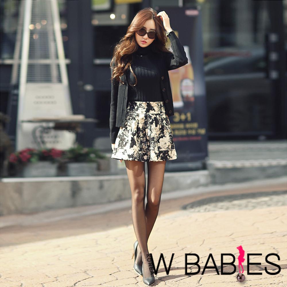 古典花紋立體感鬆緊短裙 (黑色)-W BABIES