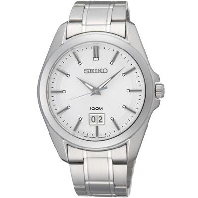 SEIKO 大視窗都會魅力石英錶-銀白/40mm