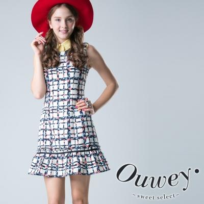 OUWEY歐薇-花朵格紋背心洋裝