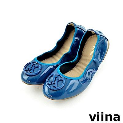 viina 經典款烤漆扣摺疊鞋MIT-藏青色
