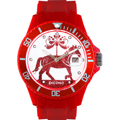 PICONO Watches 動物遊樂園系列腕錶-紅馬/ 48 mm