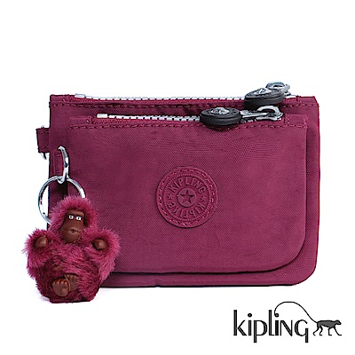 Kipling 化妝包 莓紫素面-中