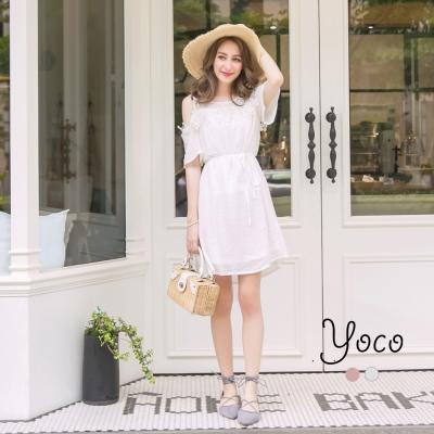 東京著衣-yoco 維也納印象附綁帶刺繡蕾絲露肩洋裝-S.M.L(共二色)