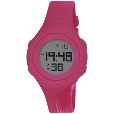 PUMA 倒數計時運動電子腕錶-灰x桃紅/40mm