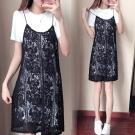 中大尺碼 白色短袖洋裝加黑色蕾絲花朵細肩背心裙XL~4L-Ballet Dolly