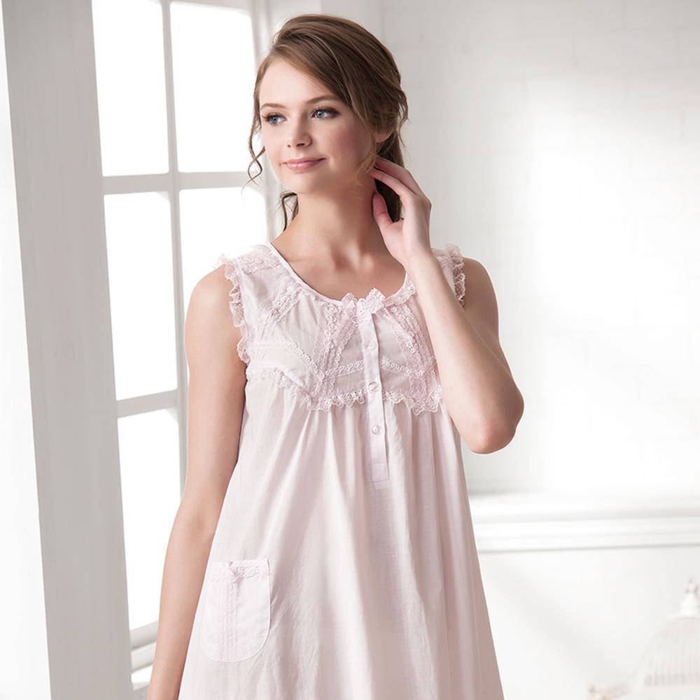 羅絲美睡衣 - 純真年代無袖洋裝睡衣(淺粉色)