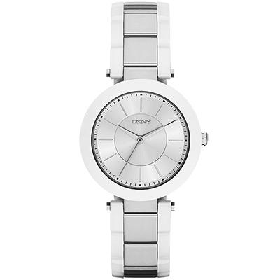 DKNY Stanhope 名模風采陶瓷時尚腕錶-銀x白/36mm