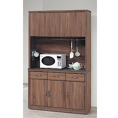 H&D 柚木色4尺碗櫃組 (寬121X深41X高203.5cm)