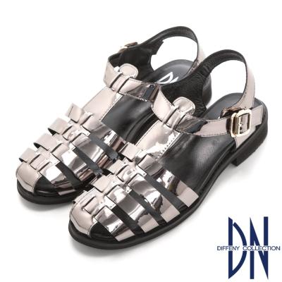DN 簡約時尚 金屬色羅馬編織平底涼鞋-銀灰
