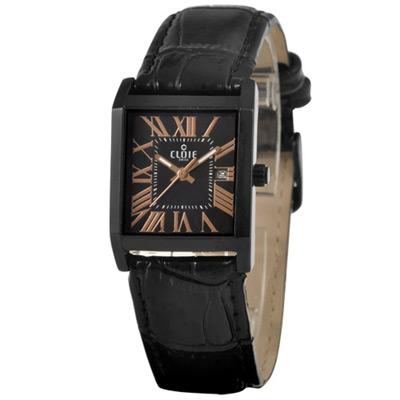 CLOIE 羅馬廣場時尚腕錶-黑x玫瑰金/25mm