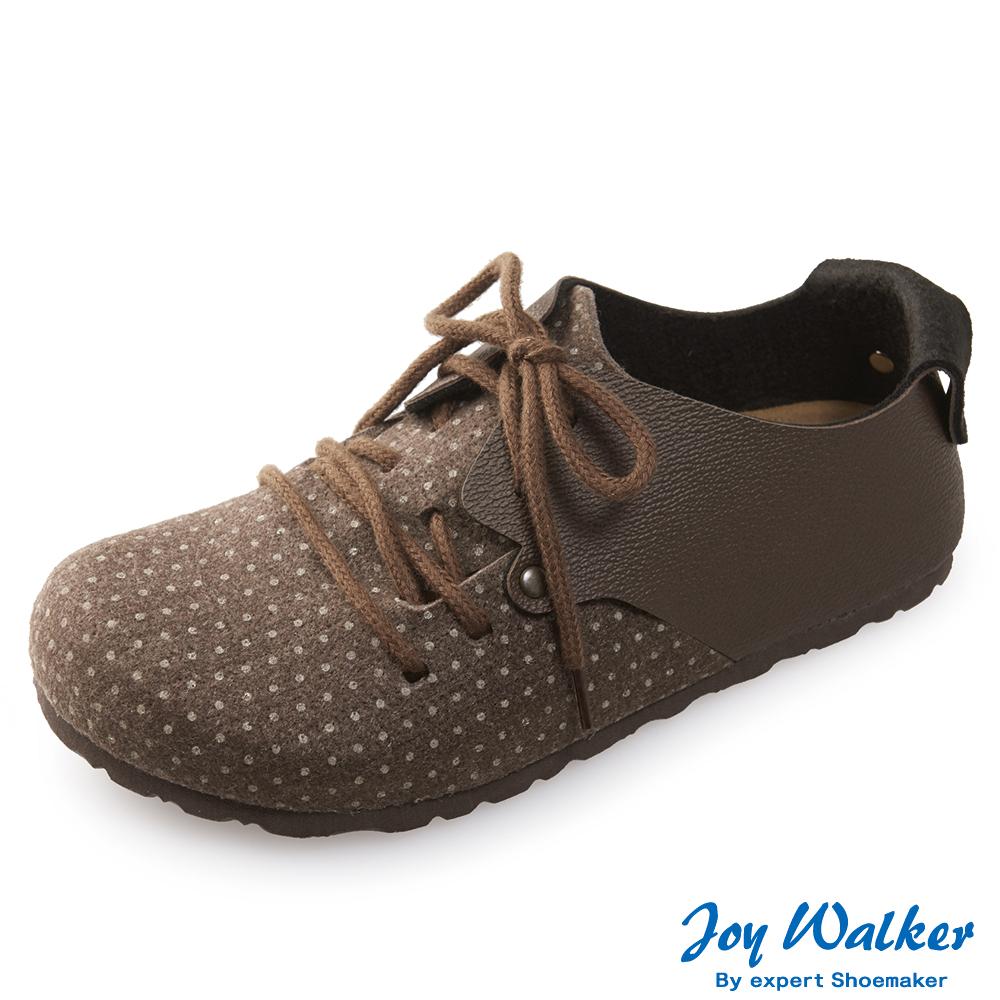 Joy Walker 休閒撞色拼接綁帶包鞋* 咖啡點點