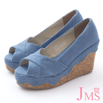 JMS-大交叉素面花邊丹寧楔型涼鞋-深藍色
